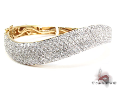 14K Gold Diamond Wave Bangle Bracelet 25422 Diamond