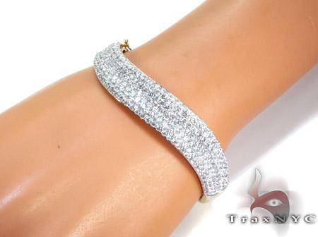 14K Gold Diamond Wave Bangle Bracelet 25422 Diamond