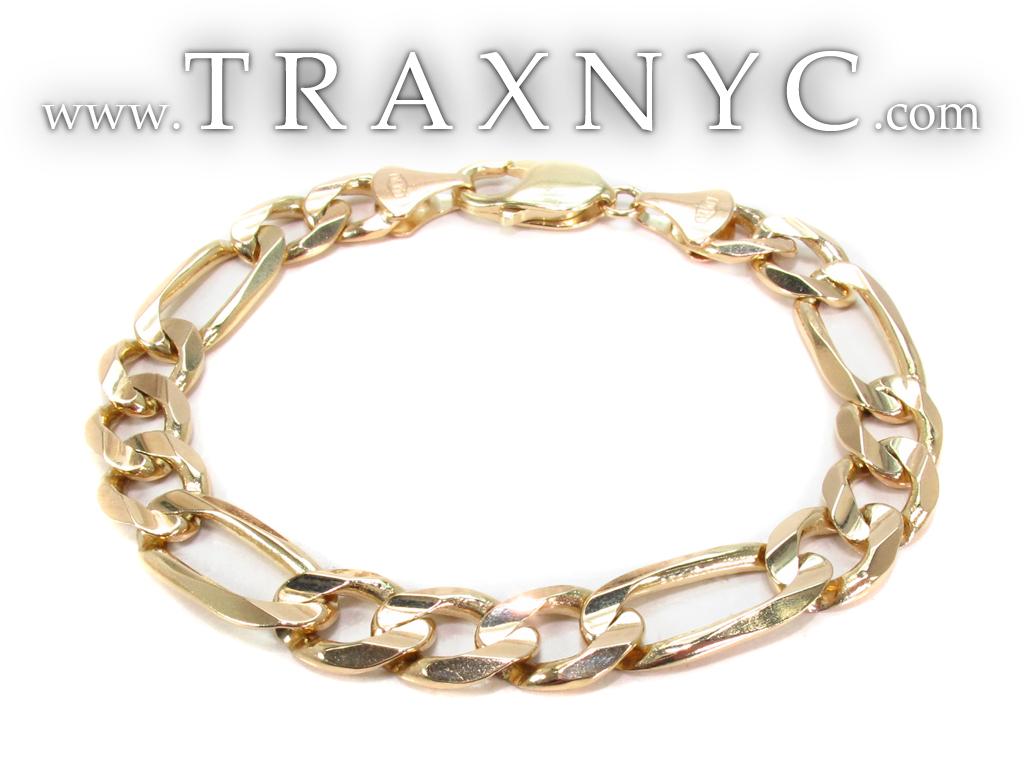 14k gold figaro bracelet 31277 gold mens bracelet yellow. Black Bedroom Furniture Sets. Home Design Ideas