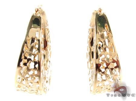 14K Gold Flower Hoop Earrings 31353 Metal