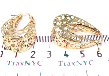 14K Gold Flower Hoop Earrings 31353 Metal