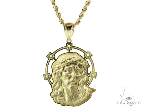 14K Gold Jesus Pendant and 10K Gold Rope Chain Set 49669 Style