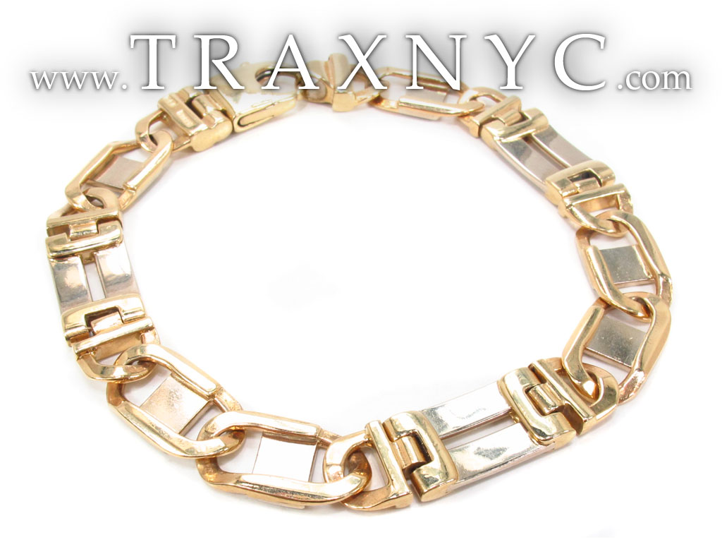 14k gold link bracelet 32703 gold mens bracelet yellow