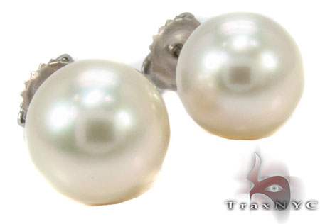 14K Gold Pearl Earrings 31769 Stone