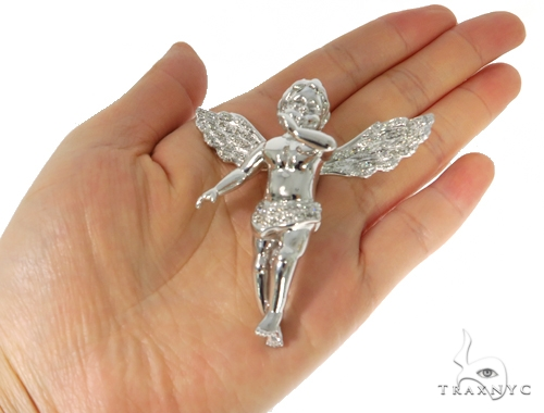 14K Gold Prong Diamond Angel Pendant 45400 Style