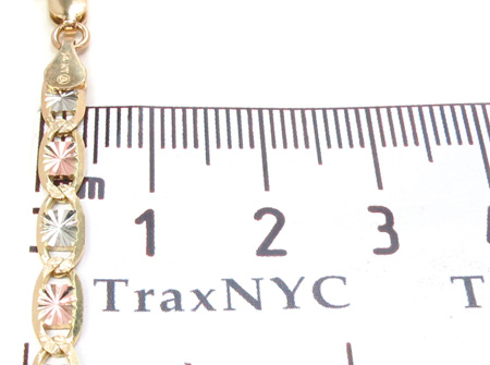 14K Multi-Color Chain 20 Inches, 4mm, 10.9Grams Gold