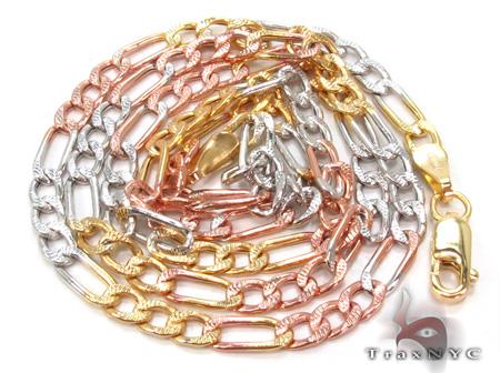 14K Multi-Color Figaro Chain 16 Inches, 3mm, 3.2Grams Gold