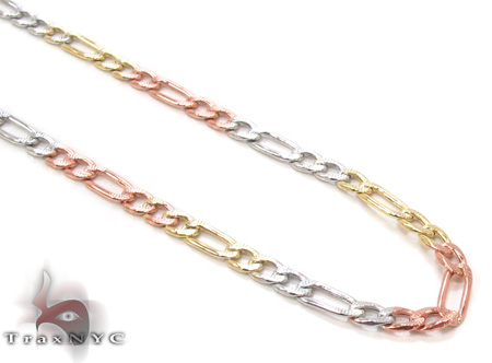 14K Multi-Color Figaro Chain 22 Inches, 3mm, 4.7Grams Gold