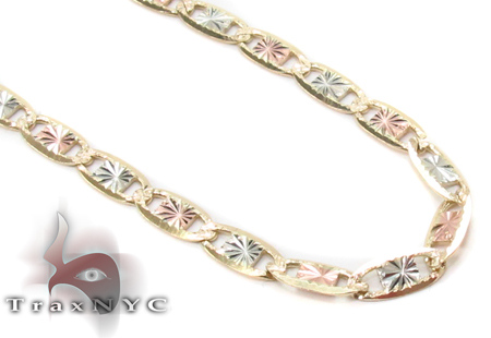 14K Three Tone Gold Valentine Chain 16 Inches 2.5mm 3.50 Grams Gold