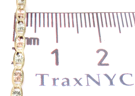 14K Three Tone Valentine Gold Chain 20 Inches 2.5mm 4.40 Grams Gold