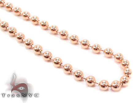 14K Rose Gold Beads Chain 20 Inches 3mm 14 Grams Gold