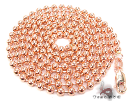14K Rose Gold Beads Chain 30 Inches 3mm 21 Grams Gold
