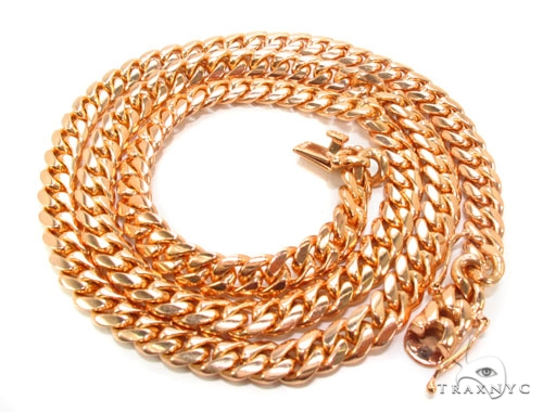 14K Rose Gold Miami Chain 30 Inches 9mm 184.6Gram Gold