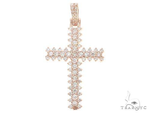 14K Rose Gold Prong Diamond Cross メンズ ダイヤモンド クロス