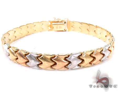 14K Three Tone ZigZag Bracelet Gold