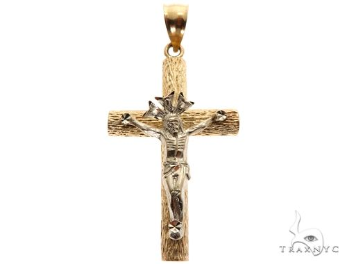 14K Two Tone Crucifix Cross 64618 メンズ ゴールド クロス