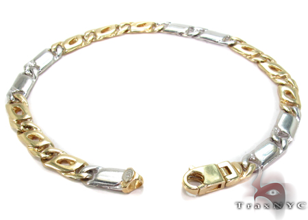 14K Two Tone Gold Tiger Eye Bracelet 31269 Gold