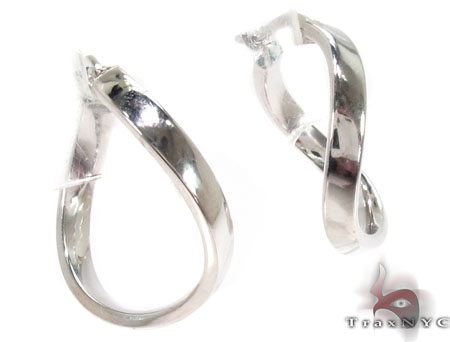 14K White Gold  Hoop Earrings 31367 Metal