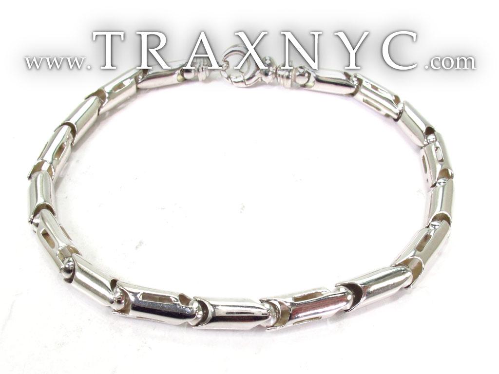 14k white gold barrel link bracelet gold mens bracelet. Black Bedroom Furniture Sets. Home Design Ideas