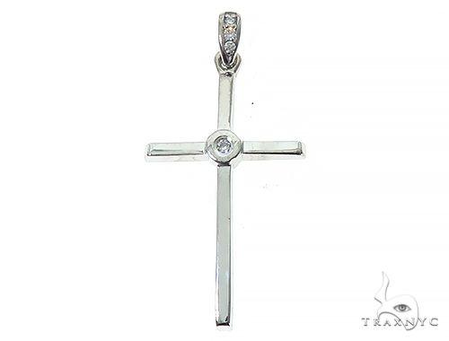 14K White Gold Bazel Cross 65664 ゴールドクロス