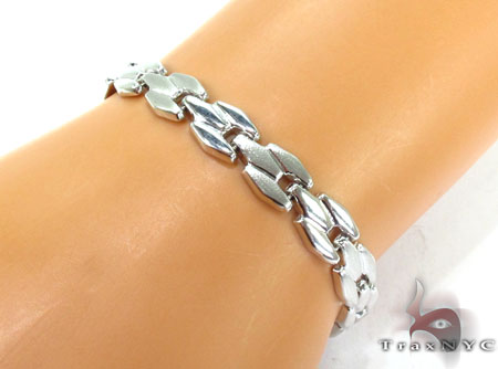 14K White Gold Brick Link Bracelet Gold