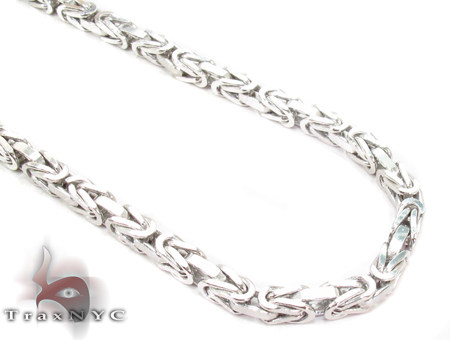 14K White Gold Byzantine Chain 28 Inches 3.5mm 53.5 Grams Gold