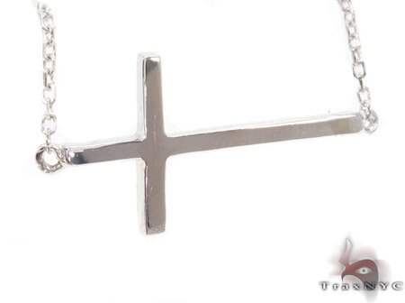 14K White Gold Cross Necklace 33976 Gold
