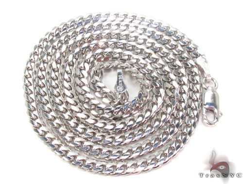 14K White Gold Cuban Chain 20 Inches, 3mm, 16.5Grams Gold
