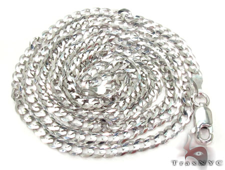 14K White Gold Cuban Chain 20 Inches 2.5mm 5.30 Grams Gold