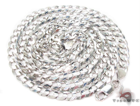 14K White Gold Cuban Chain 22 Inches 5mm 13.4 Grams Gold