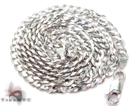 14K White Gold Cuban Chain 24 Inches 4mm 9.40 Grams Gold