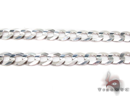 14K White Gold Cuban Chain 24 Inches 8mm 35.3 Grams Gold