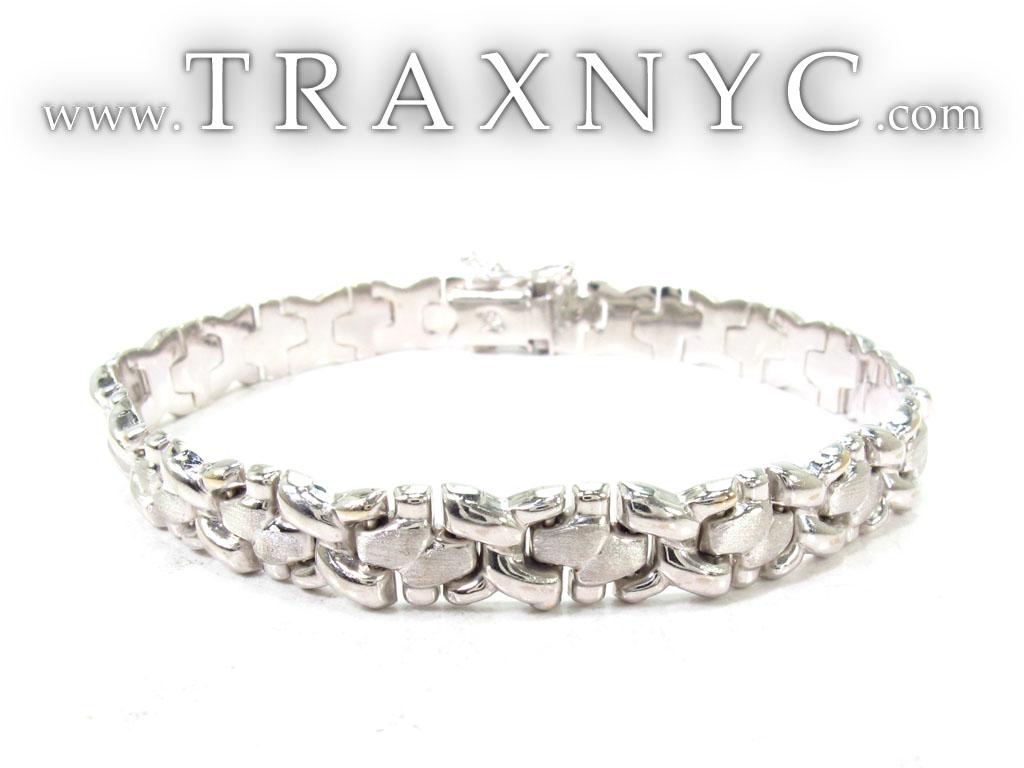 14k White Gold Fancy Italian Bracelet 28717