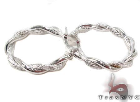 14K White Gold Hoop Earrings 31363 Metal