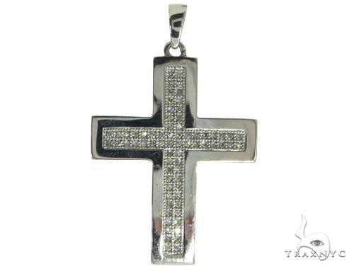 14K White Gold Micro Pave Diamond Cross Pendant 62618 メンズ ダイヤモンド クロス