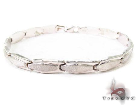 14K White Gold Oval Fancy Italian Bracelet Gold