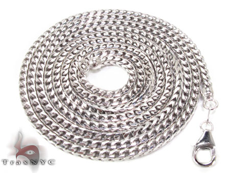Silver 14K White Gold Plated Franco Chain 36 Inches, 2mm, 26.50 Grams Silver