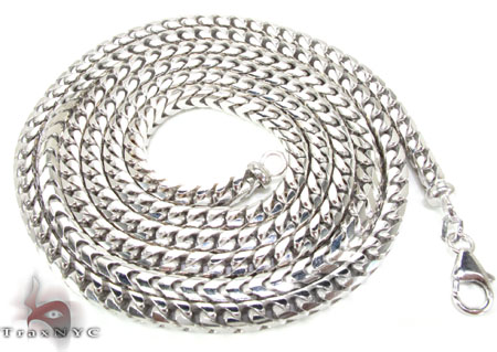 Silver 14K White Gold Plated Franco Chain 36 Inches, 3mm, 59.7 Grams Silver