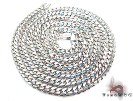Silver 14K White Gold Plated Miami Chain 36 Inches, 5mm, 85.1 Grams Silver