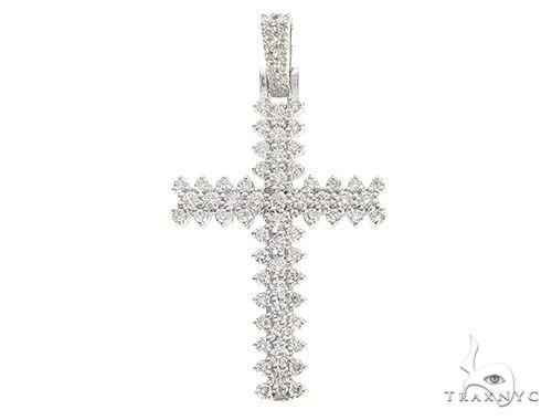 14K White Gold Prong Diamond Cross 65775 メンズ ダイヤモンド クロス