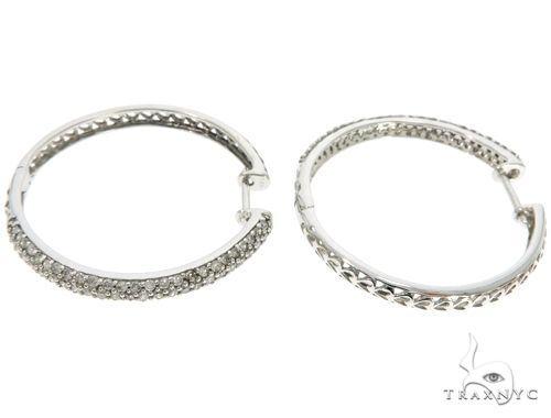 14K White Gold Prong Diamond Hoop Earrings 61501 10k, 14k, 18k Gold Earrings