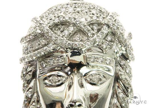 14K White Gold Prong Jesus Diamond Pendant 63850 Metal