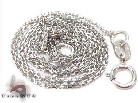 14K White Gold Thin Cable Chain 18 Inches 0.5mm 0.90 Grams Gold