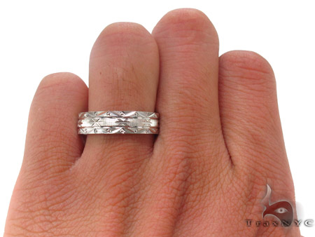 14K White Gold Wedding Band 33677 Style