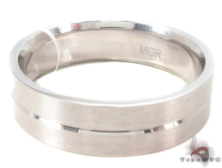14K White Gold Wedding Band 33678 Style