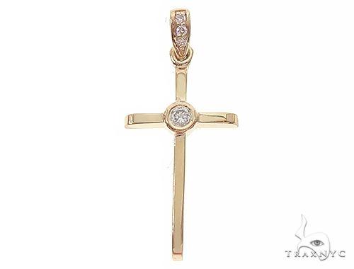 14K Yellow Gold Bazel Cross 65663 ゴールドクロス