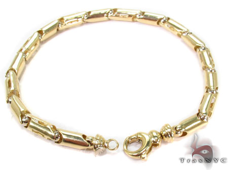 14K Yellow Gold Barrel Link Bracelet Gold