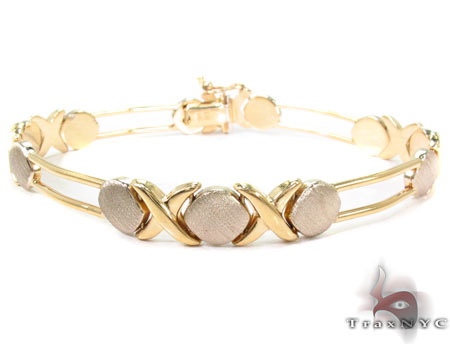 14K Yellow Gold Circle X Bracelet Gold