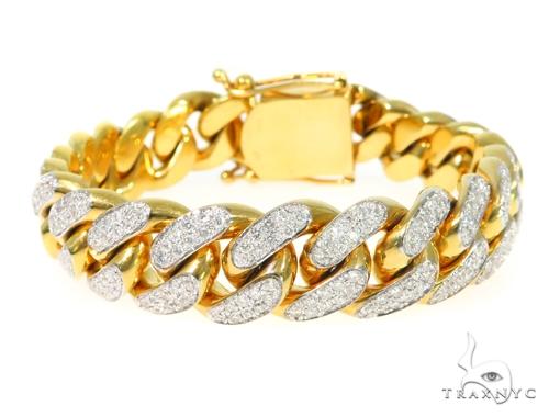 14K Yellow Gold Diamond Cuban Bracelet 45367 Diamond