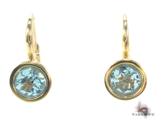 Blue Topaz Gold Hoop Earrings 34500 Stone
